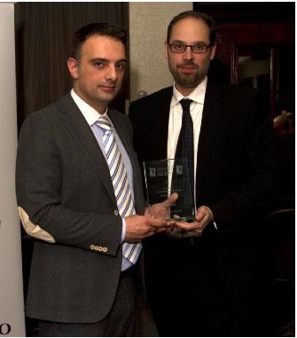 Steve Kriaris receiving the 2012 HCBT Small Business Award